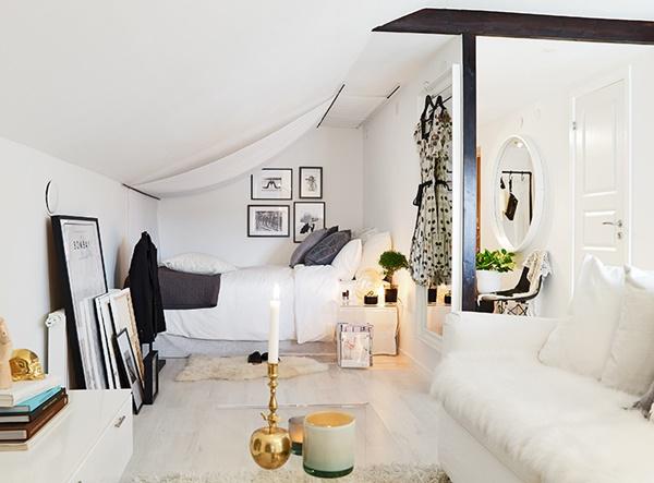Inspiraci n para estudios 34 metros cuadrados con encanto - Decorar salon cuadrado 20 metros ...