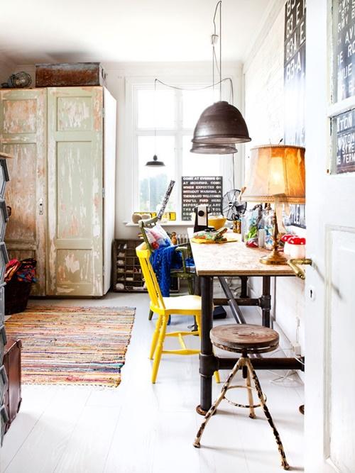 oficina con estilo industrial en casa
